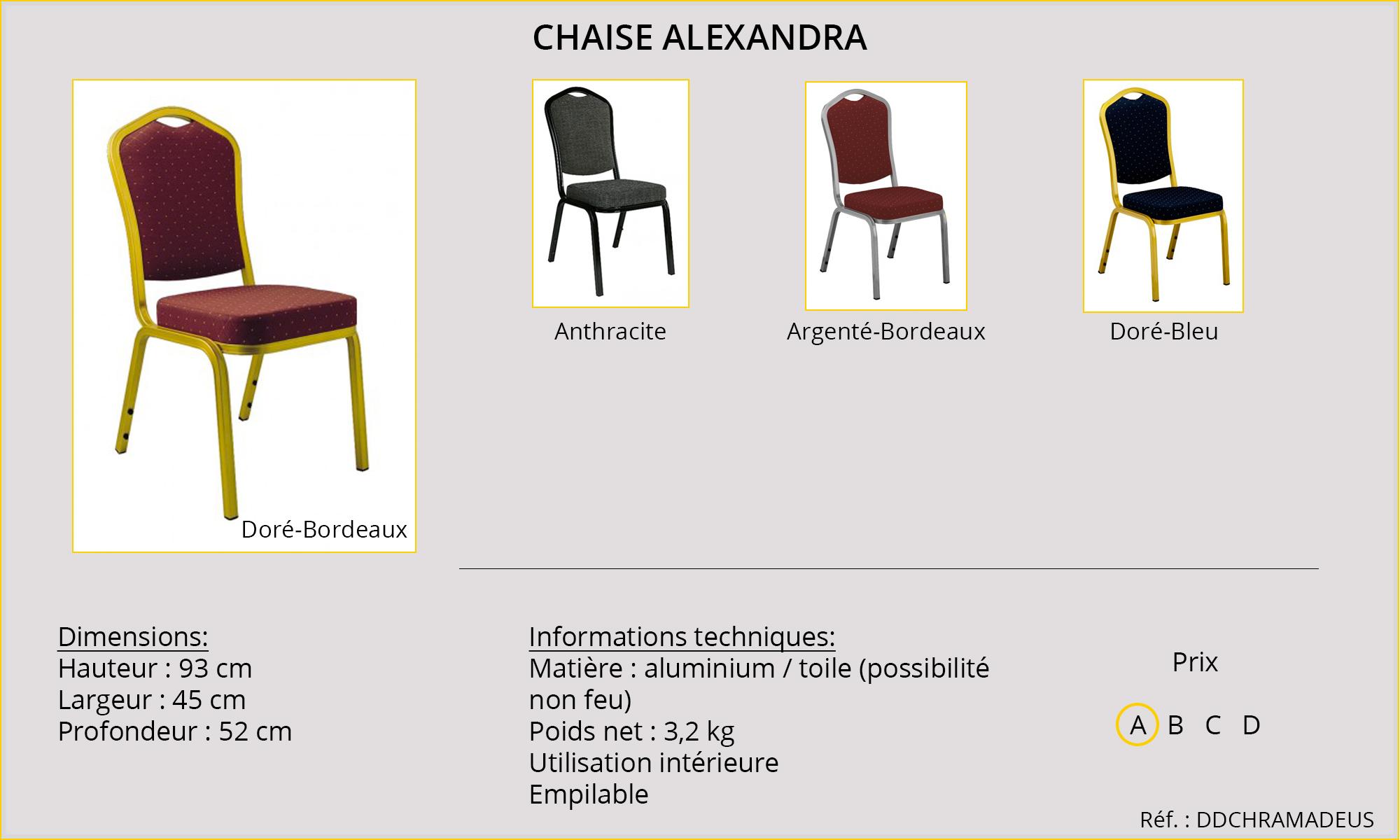 Rideaux HôteRestaurants CHR HORECA chaise Alexandra