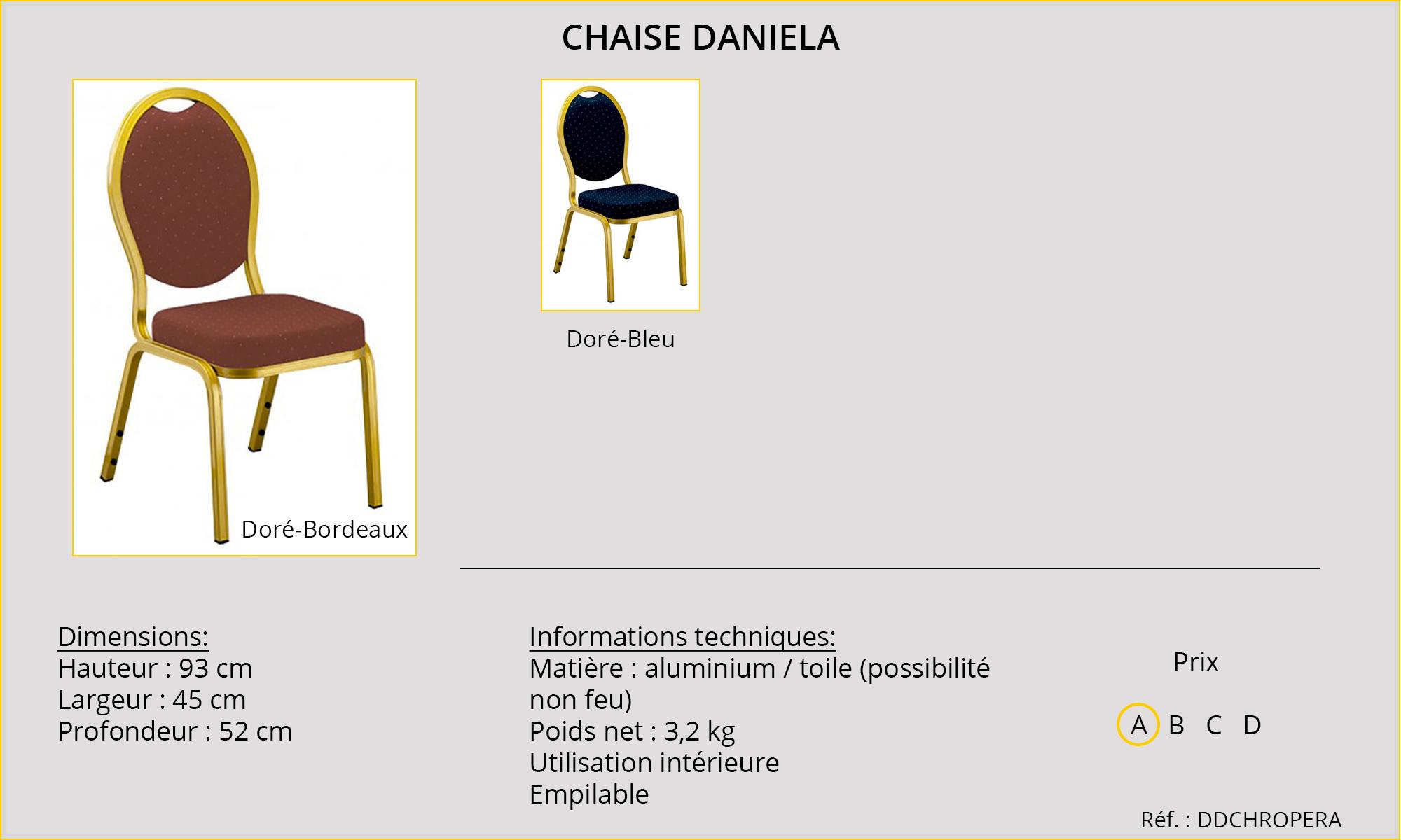 Rideaux HôteRestaurants CHR HORECA chaise Daniela