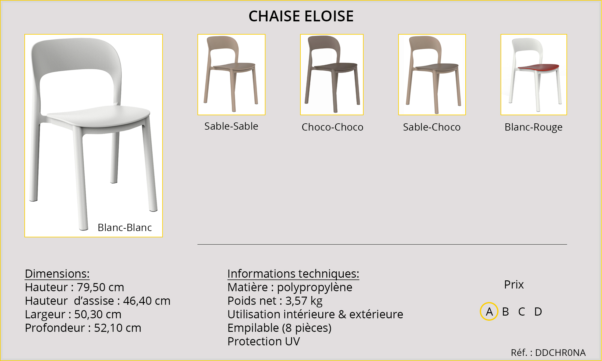 Rideaux HôteRestaurants CHR HORECA chaise Eloise