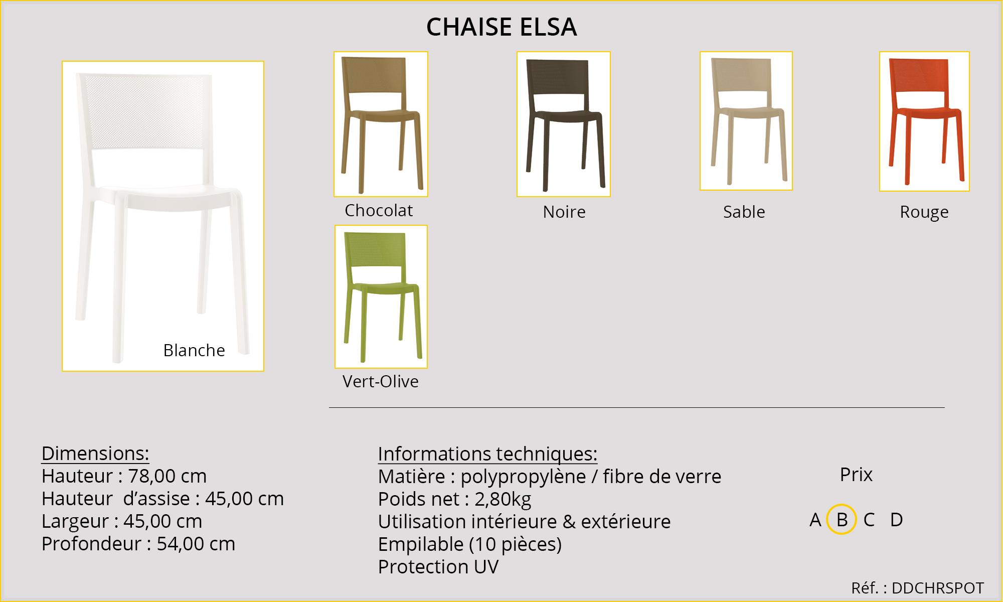Rideaux HôteRestaurants CHR HORECA chaise Elsa