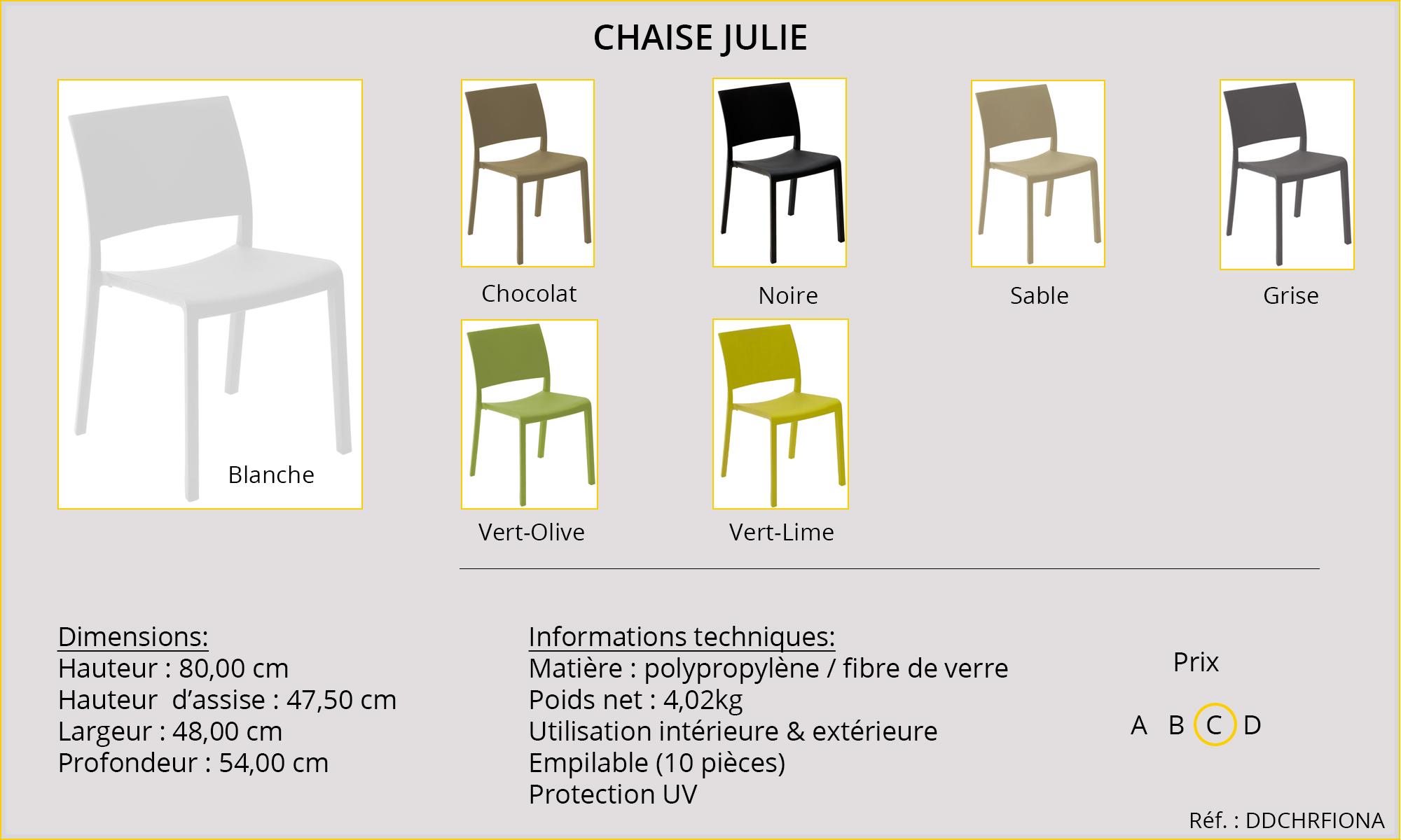 Rideaux HôteRestaurants CHR HORECA chaise Julie