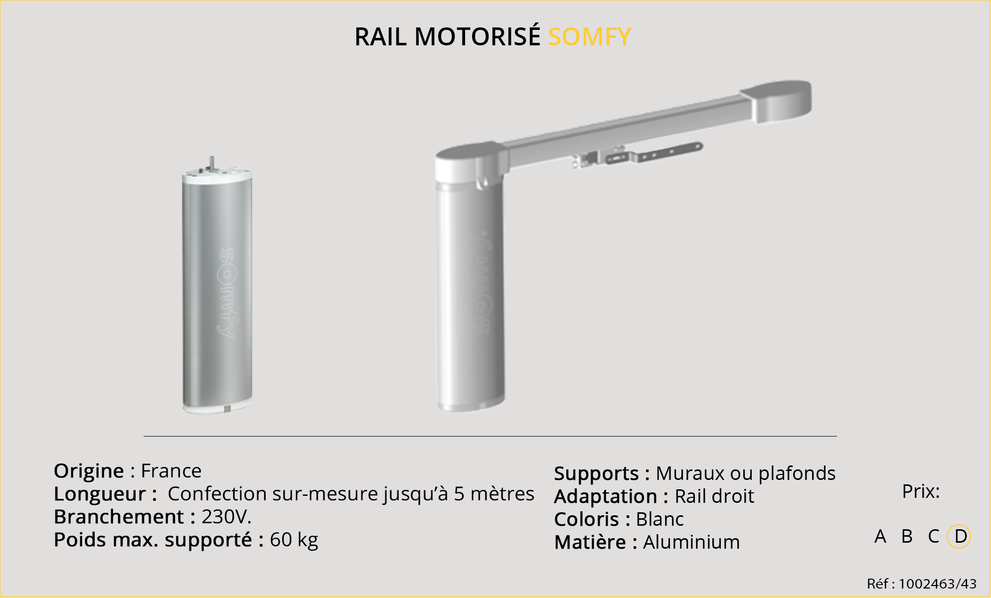 Rail motorisé somfy