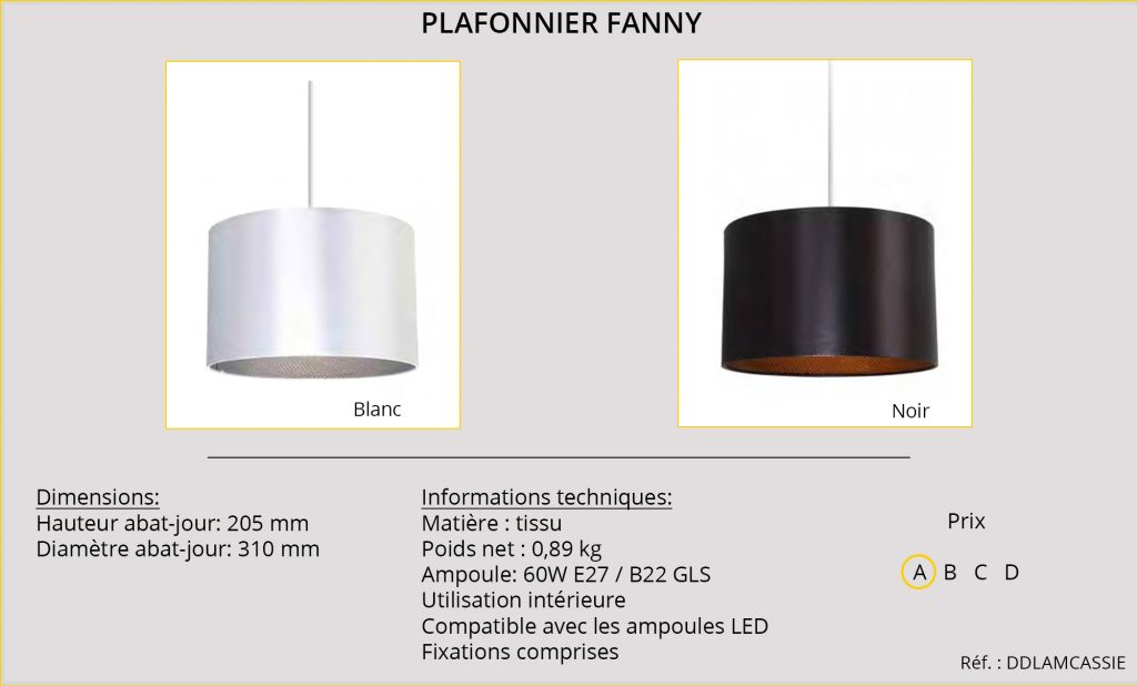 Rideaux-Hotels plafonnier Fanny DDLAMCASSIE