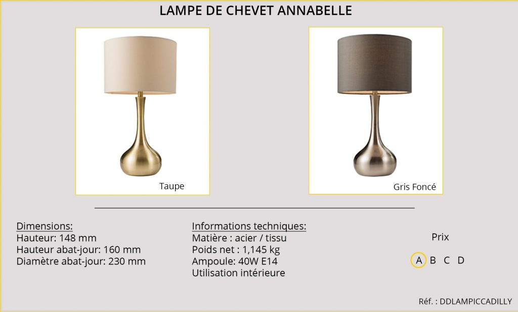 Lampe de chevet Annabelle DDLAMPICCADILLY
