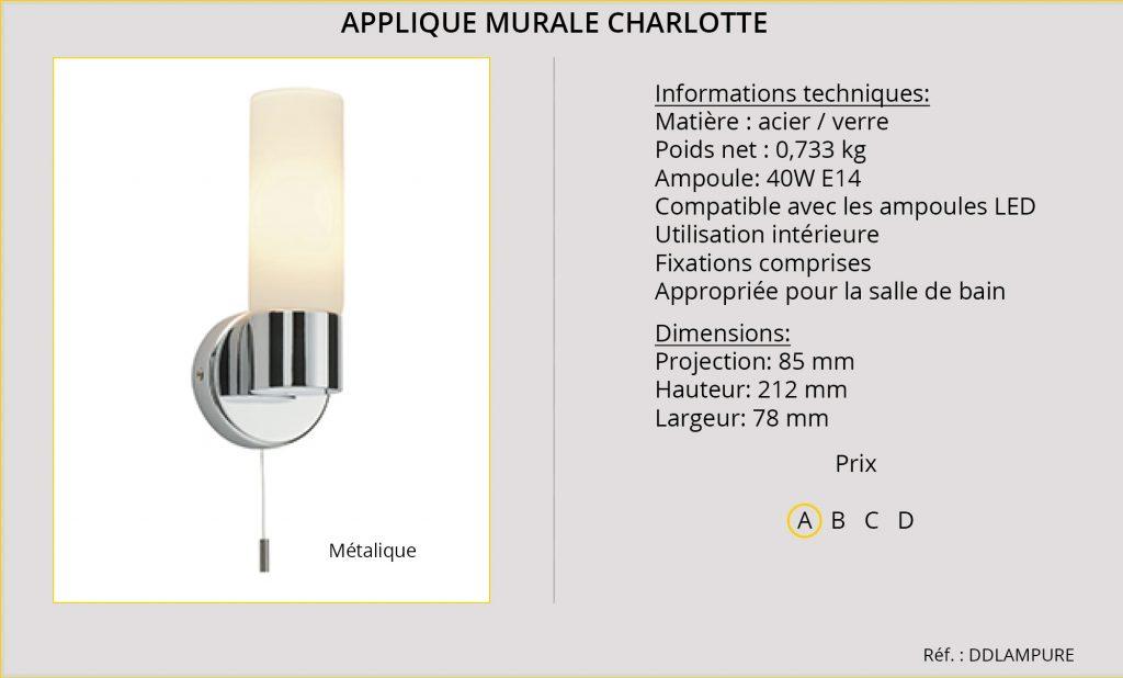 Rideaux-Hotels applique murale Charlotte DDLAMPURE