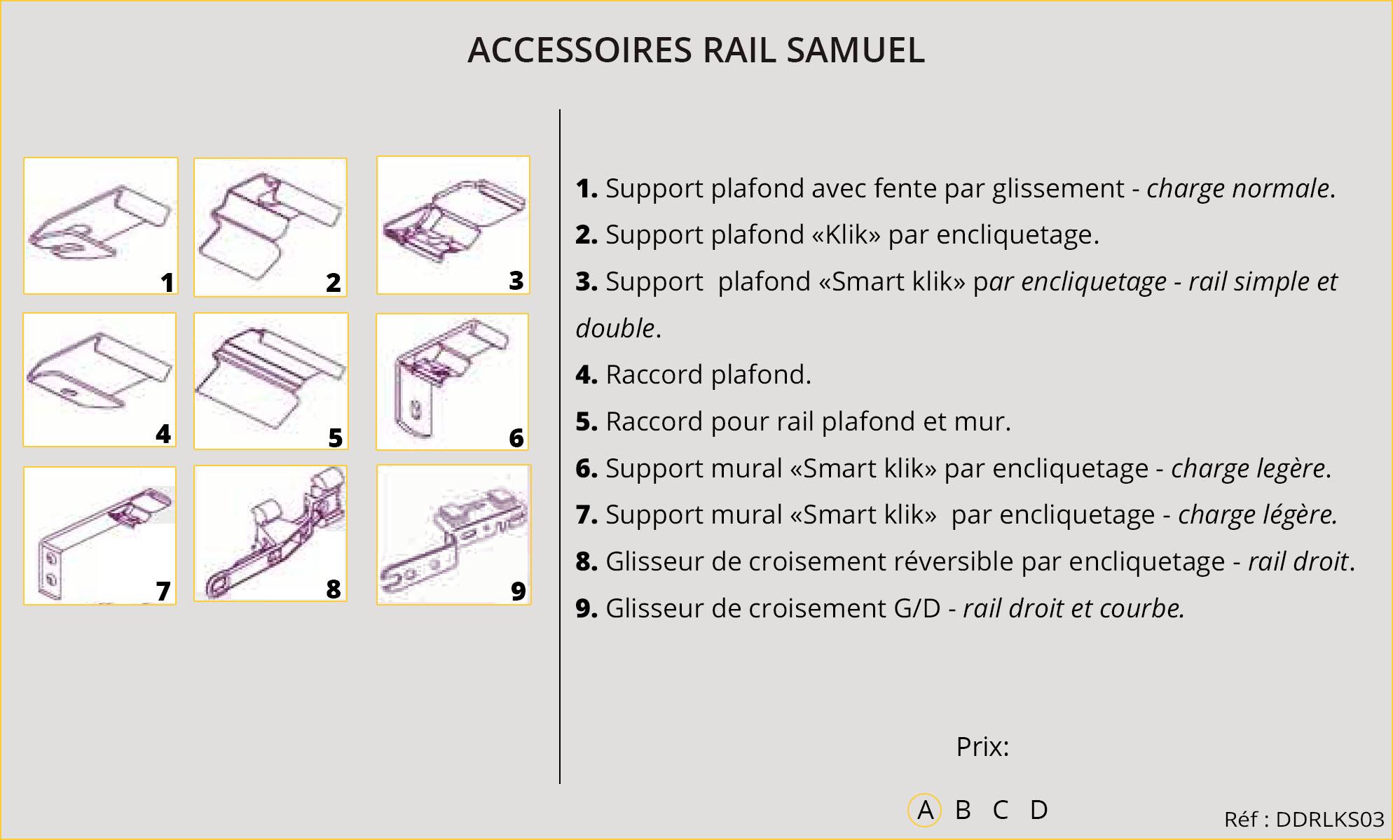 Rideaux-Hôtels Accessoires Rail Samuel