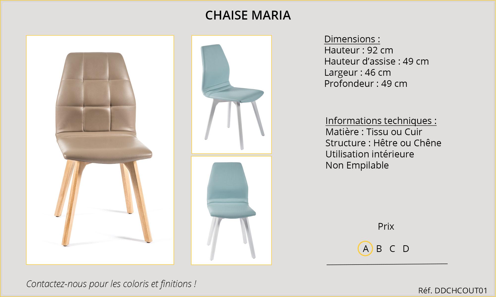 Rideaux HôteRestaurants CHR HORECA chaise Maria