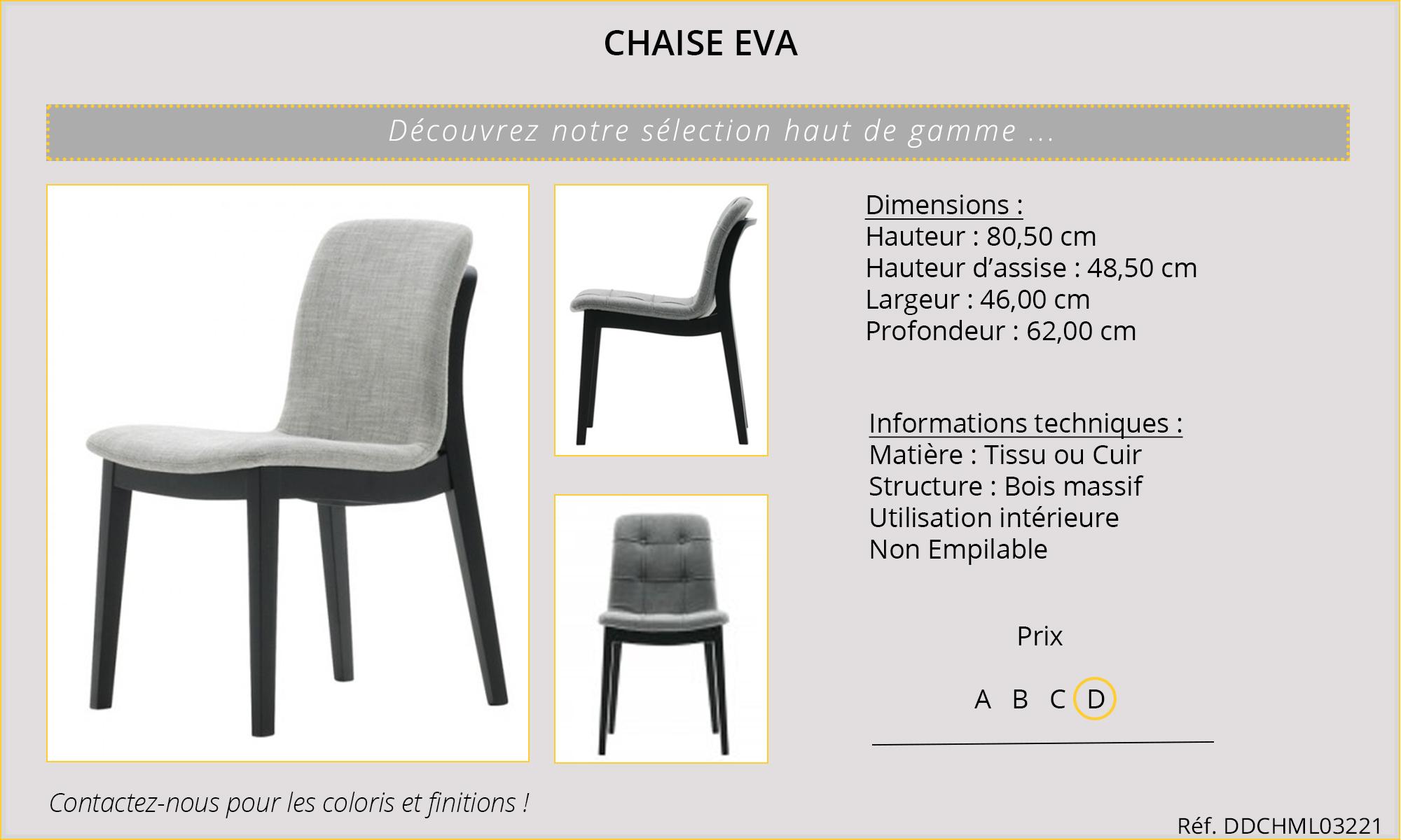Rideaux HôteRestaurants CHR HORECA chaise Eva
