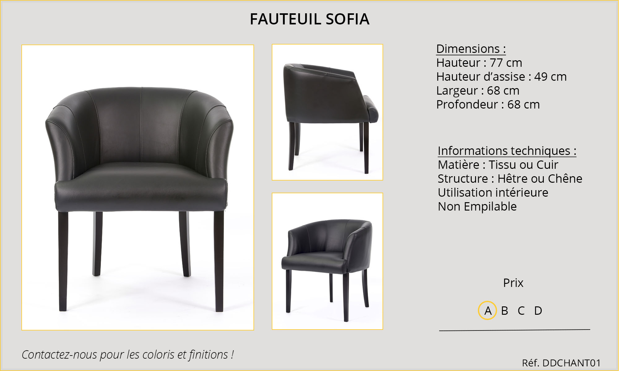 Rideaux Hôtels Restaurants fauteuil Sofia