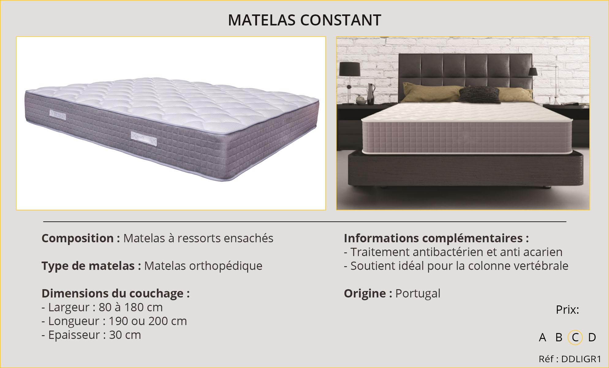 Rideaux-Hôtels Matelas Constant