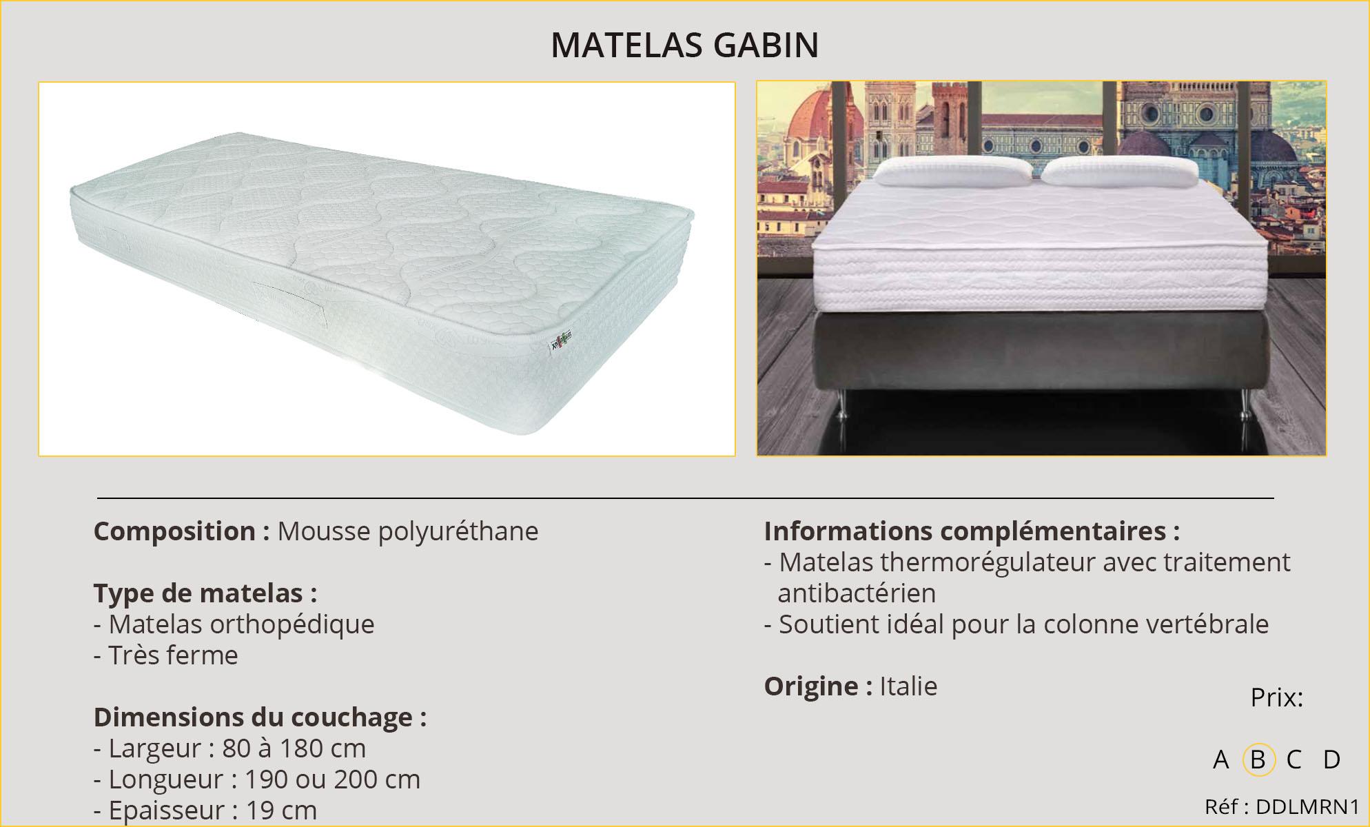 Rideaux-Hôtels Matelas Gabin
