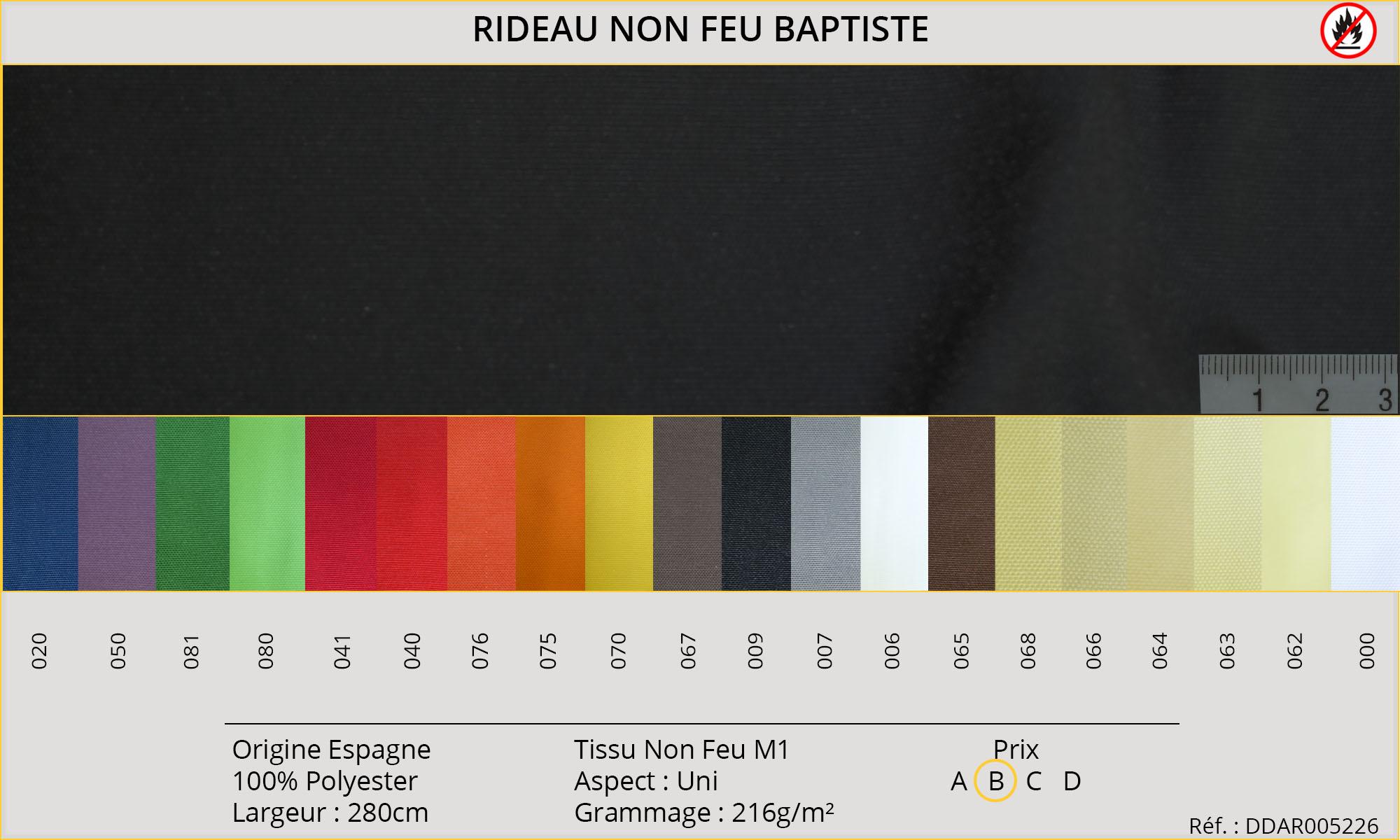 Rideaux-Hôtels certifiés Non Feu M1 Baptiste