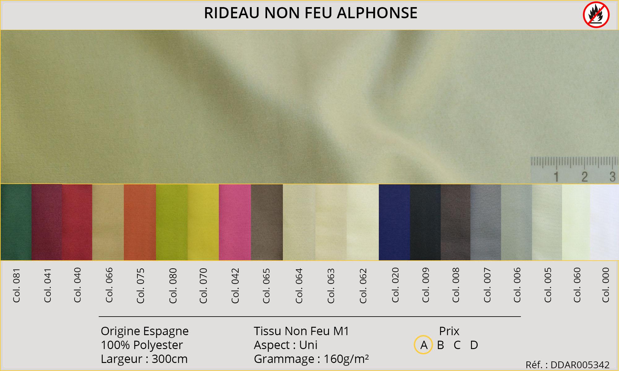 Rideaux-Hôtels certifiés Non Feu M1 Alphonse