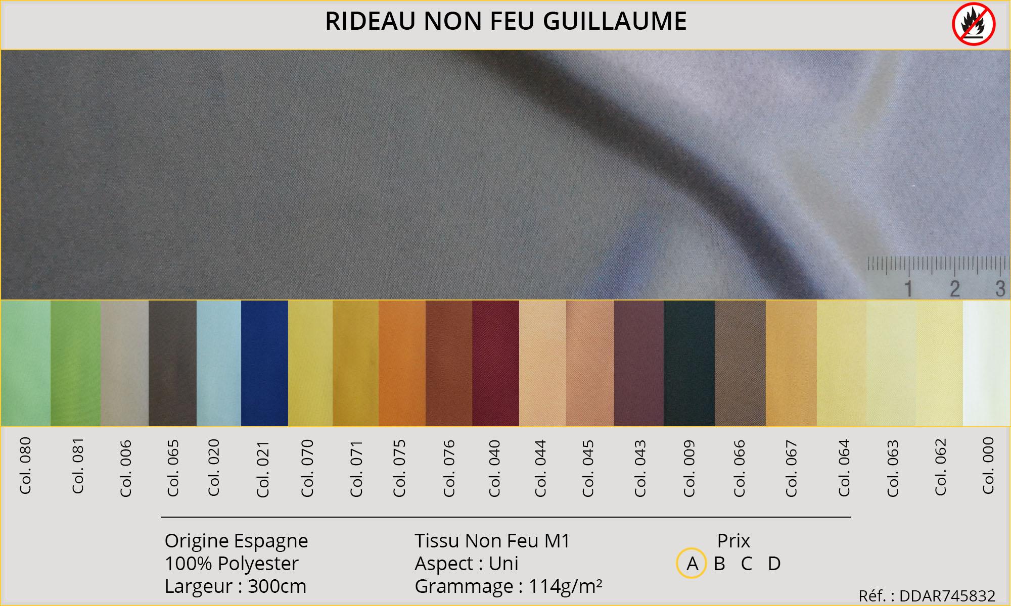 Rideaux-Hôtels certifiés Non Feu M1 Guillaume