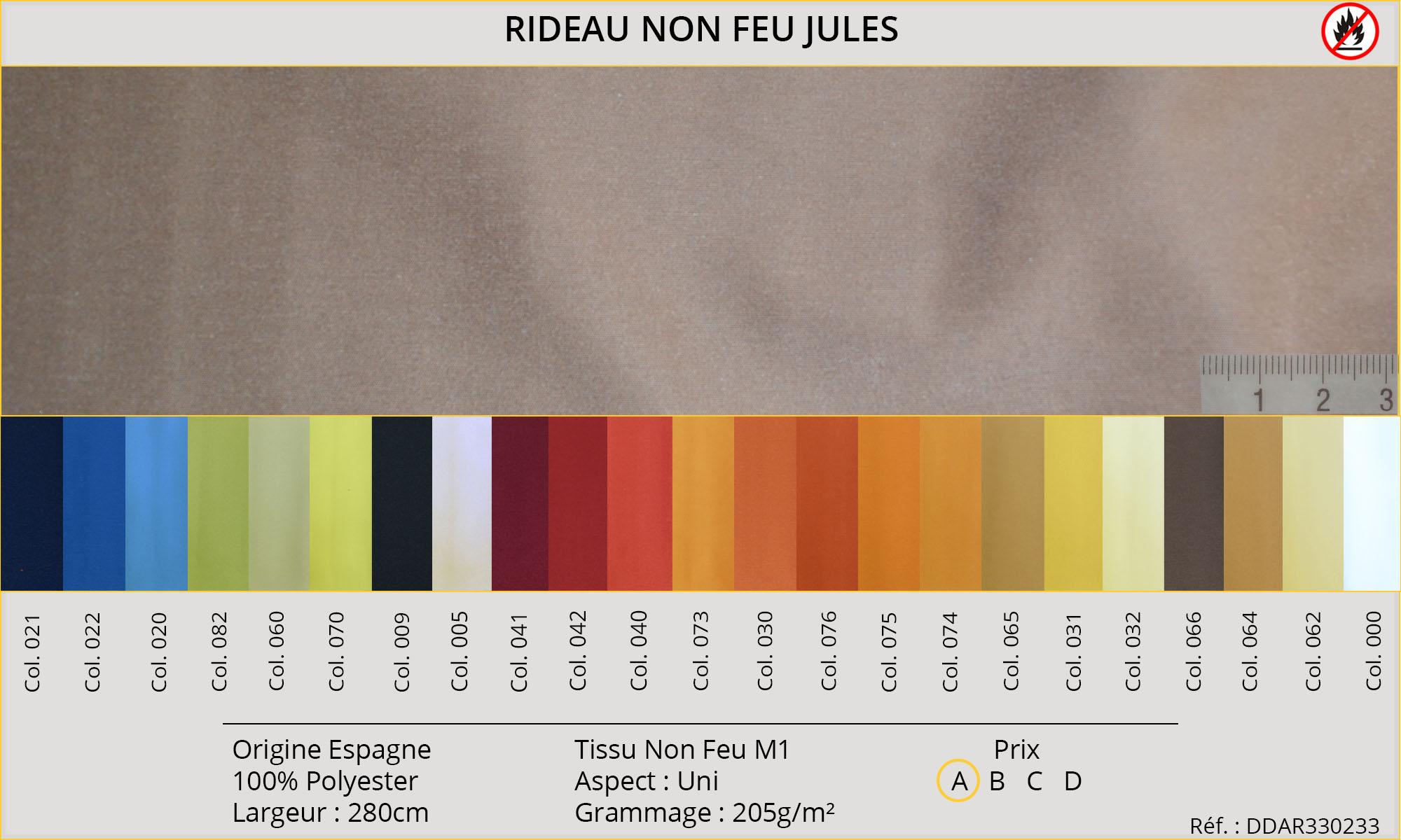 Rideaux-Hôtels certifiés Non Feu M1 Jules