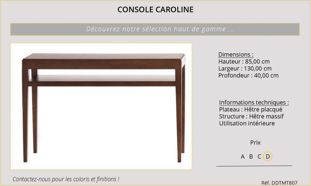 Rideaux Hôtels Restaurants CHR HORECA table console Caroline