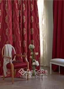 grand rideaux rouge motifs anti-feu ignifugé