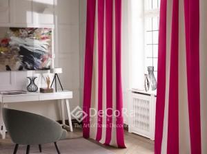 Beau rideaux 2 couleurs rose et blanc anti-feu ignifugé