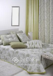 voilage et rideau bicolor vert et blanc motif anti-feu ignifugé