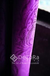 Rideau anti-feu ignifugé violet rose à motif  en relief